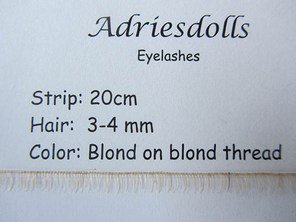 Eyelash: 20cm strip with 3-4mm hairs. Color: Blond