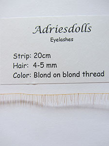 Eyelash: 20cm strip with 4-5mm hairs. Color: Blond