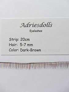 Eyelash: 20cm strip with 5-7mm hairs. Color: Dark-Brown