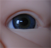 Mouth blown doll eyes. Color: BLUE